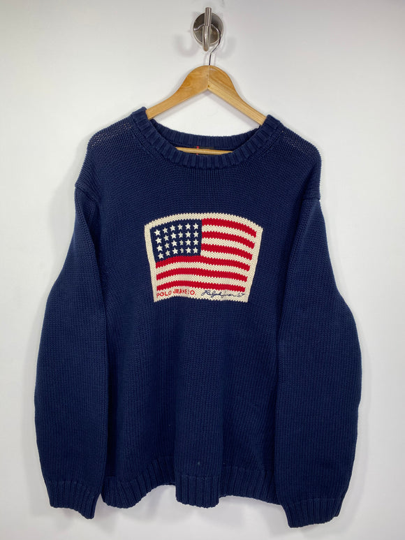 Vintage Polo Jeans Ralph Lauren American Flag Size XXL Knit-Sweater / 5247