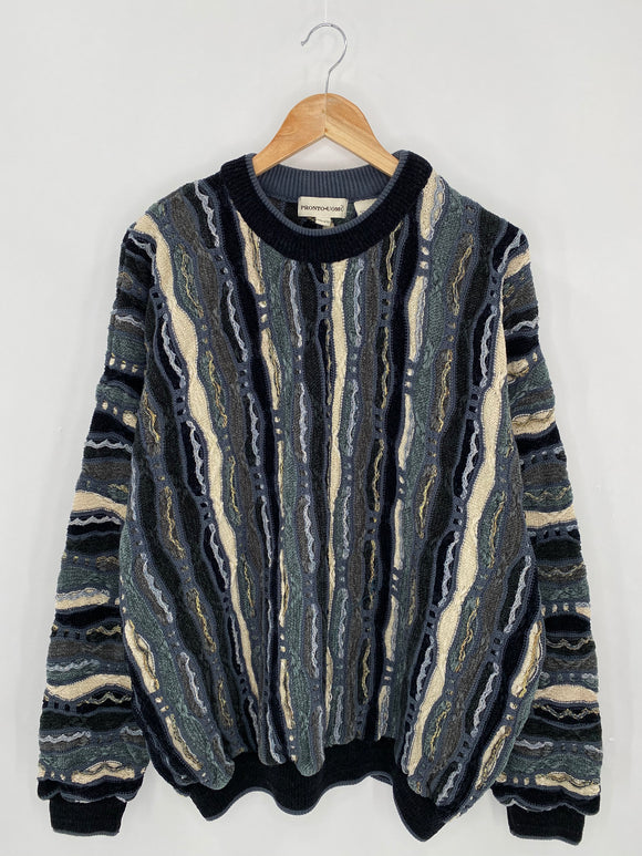 Vintage 3D Coogi-Style Size XXL Knit Sweater / 6266