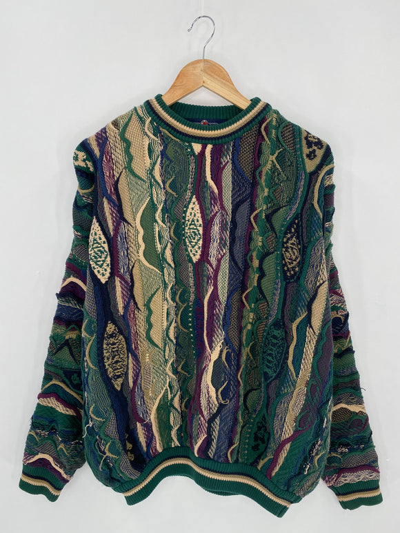 Vintage 3D Coogi-Style Size L Knit Sweater / 6261