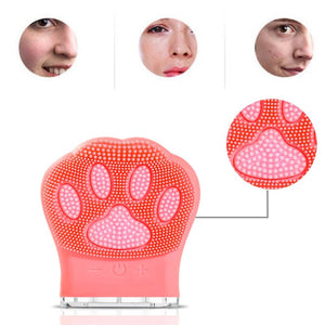 Cat Paw Rechargeable Silicone Face Cleaning Brush Mini Brush - casaxfit