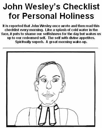Wesley's Daily Holiness Checklist