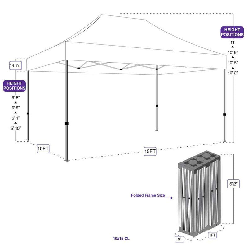 10X15 Heavy Duty Steel Pop up Canopy Tent Replacement Frame - CL