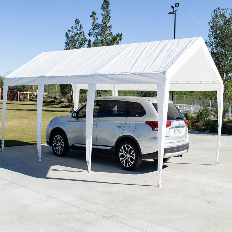 "10x20 (8) Leg Portable Carport Outdoor Party Sun Shade Shelter - WHITE - 1 1/2"" Frame - Impact Canopies USA"