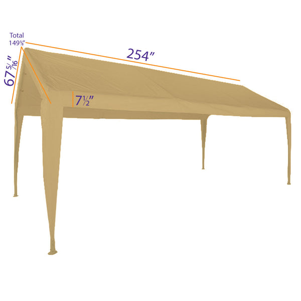 10x20 Portable Carport Garage Storage Tent REPLACEMENT TOP ONLY - TAN with Leg Skirts - Impact Canopies USA