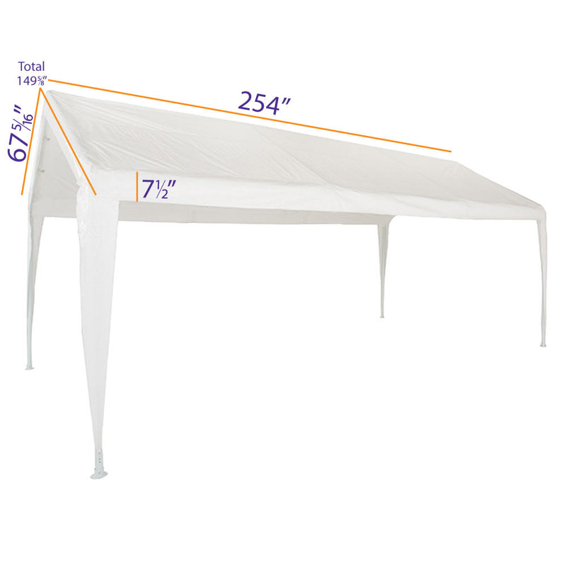 10x20 Portable Carport Garage Storage Tent REPLACEMENT TOP ONLY - WHITE with Leg Skirts - Impact Canopies USA
