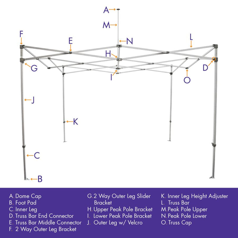 Part E. Steel Truss Bar Middle Connector, CL / AOL Frames Replacement Part - Impact Canopies USA