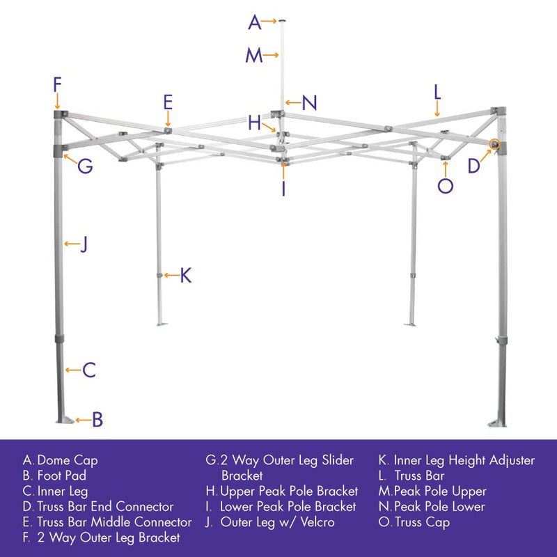 3-Way Middle Outer Leg Slider Bracket (10x20), M Frame Replacement Part - Impact Canopies USA