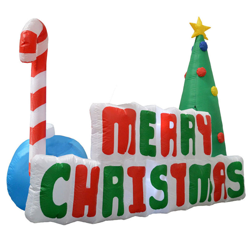 Inflatable Yard Christmas Decoration, Lighted Merry Christmas Sign 6' Long - 5' Tall - Impact Canopies USA