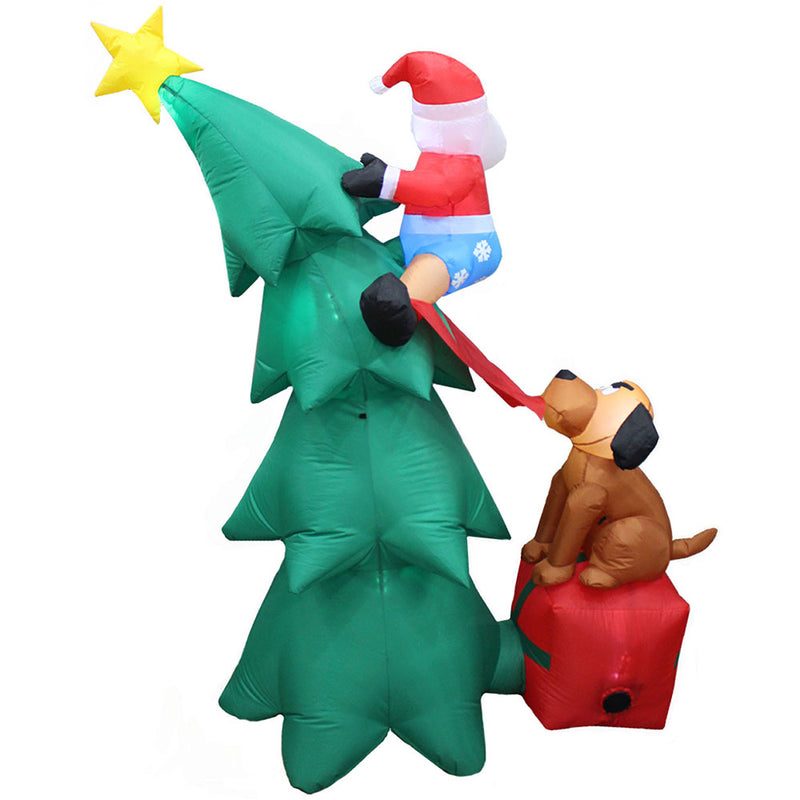 Inflatable Yard Christmas Decoration, Christmas Tree with Dog - 6' Tall - Impact Canopies USA
