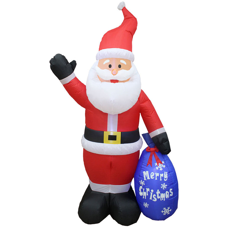 Inflatable Yard Christmas Decoration, Santa with Merry Christmas Gift Bag - 7' Tall - 4' Wide - Impact Canopies USA