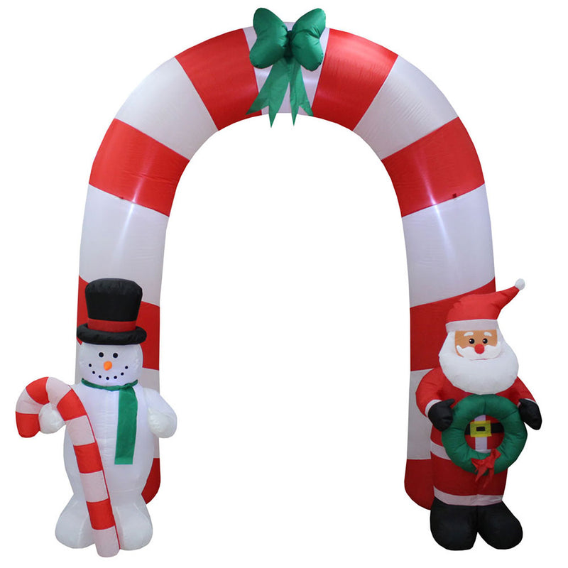 Inflatable Yard Christmas Decoration, Candy Cane Arch - 8' Tall - 7' Wide - Impact Canopies USA