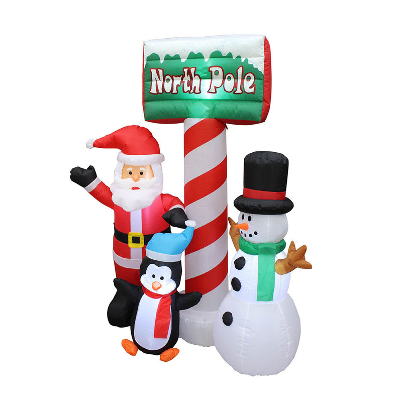 Inflatable Yard Christmas Decoration, North Pole Sign with Santa - 5' Tall - 4' Wide - Impact Canopies USA