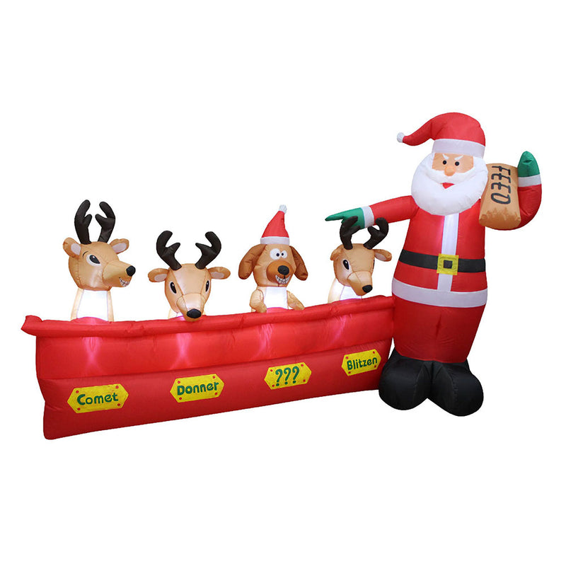 Inflatable Yard Christmas Decoration, Santa with Reindeer - 8' Wide - 5' Tall - Impact Canopies USA
