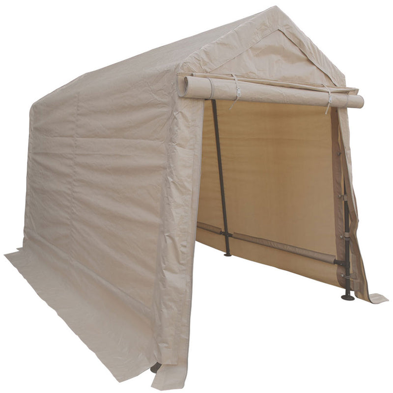 6x8 Portable Storage Shed - Motorcycle Cover - Lawnmower Shed - Tan - Impact Canopies USA