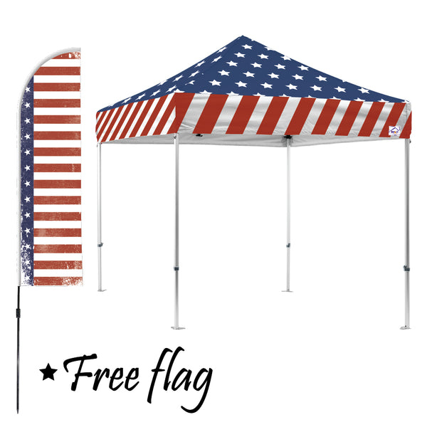 Stars & Stripes 10x10 Canopy Kit (with FREE Flag $76 value)