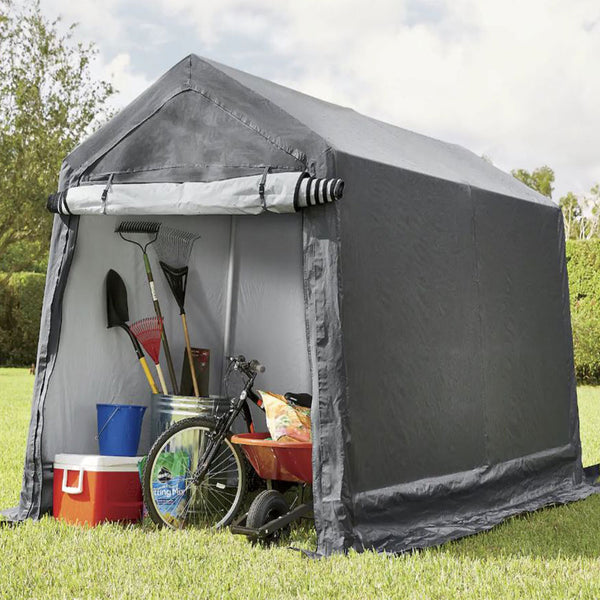 7x12 Portable Storage Shed - Motorcycle Cover - Lawnmower Shed - Gray - Impact Canopies USA