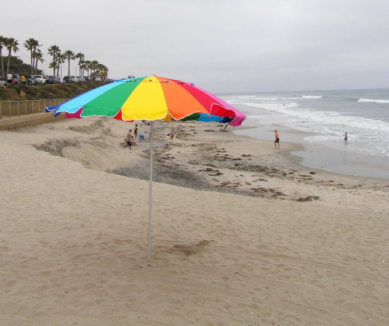 Beach Umbrella Rainbow Includes Carry Bag - 8 Foot Rainbow Color with Sand Anchor Auger - Impact Canopies USA