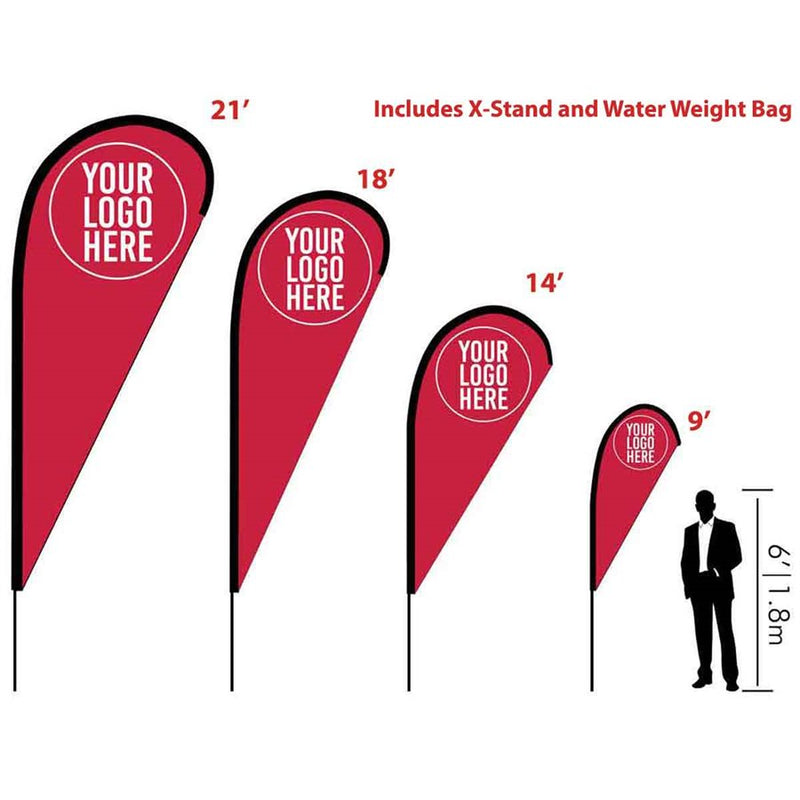 E-Blade Style Flag - Includes Custom Flag, Flag Pole, X Stand. and Water Weight Bag - Impact Canopies USA