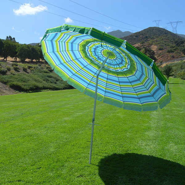 Beach Umbrella with Sand Anchor Auger - Blue Green 8' - Impact Canopies USA