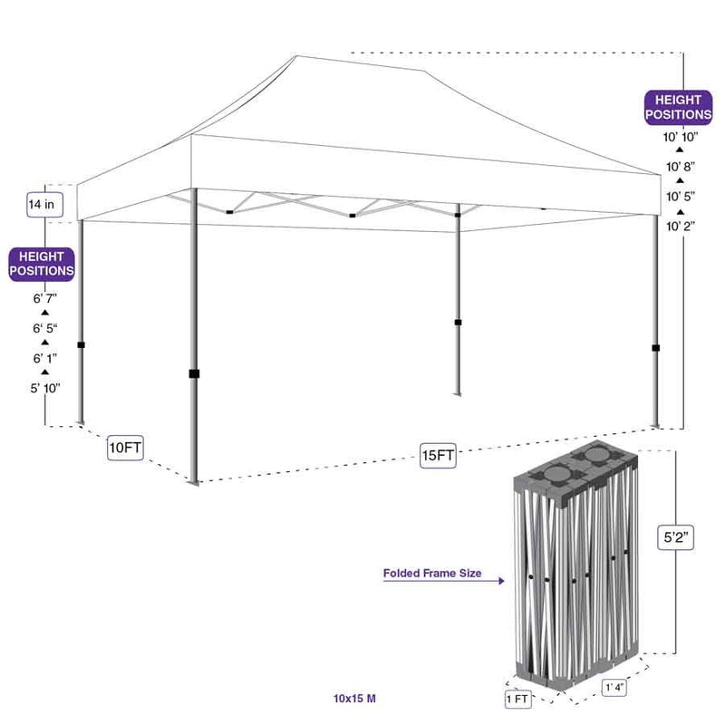 10X15 M Pop up Canopy Tent Replacement Aluminum Frame - Commercial Grade - Impact Canopies USA