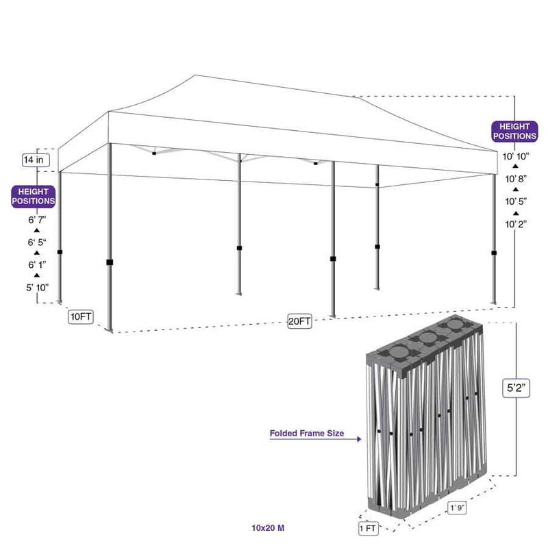 10X20 M Pop up Canopy Tent Replacement Aluminum Frame - Commercial Grade - Impact Canopies USA