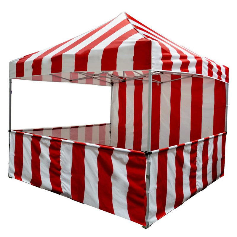 10x10 Pop up Carnival Canopy Tent Vendor Booth with Sidewall and Half Walls - Impact Canopies USA