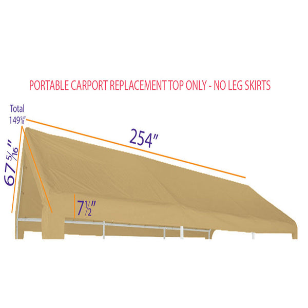 10x20 Portable Carport Garage Storage Tent REPLACEMENT TOP ONLY - TAN without Leg Skirts  Copy - Impact Canopies USA