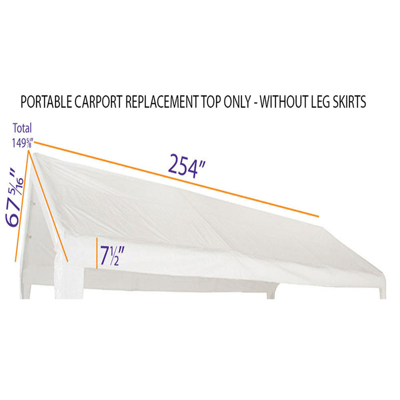 10x20 Portable Carport Garage Storage Tent REPLACEMENT TOP ONLY - WHITE without Leg Skirts  Copy - Impact Canopies USA