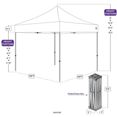 10x10 DS Pop Up Canopy Tent with Roller Bag (Choose Color)