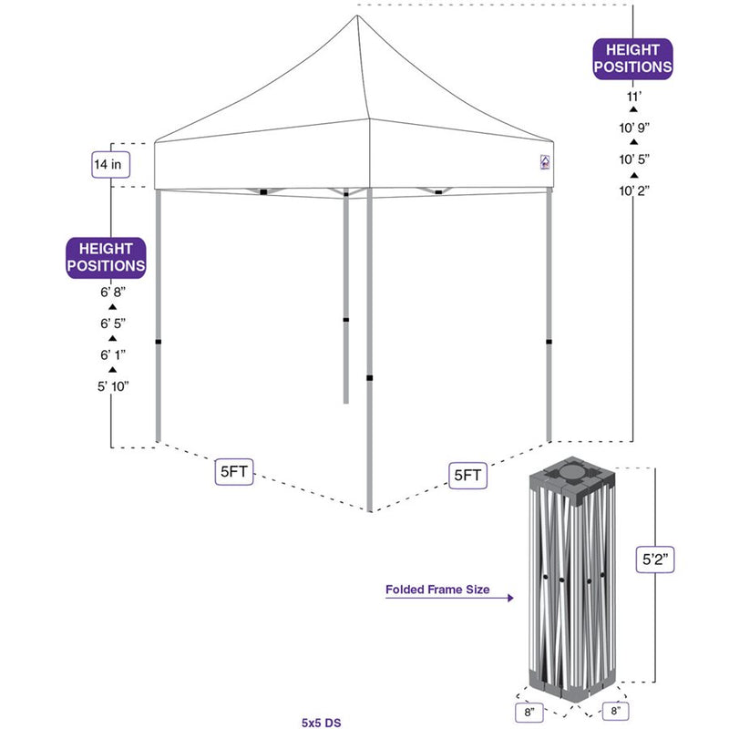 5X5 DS Pop up Canopy Tent Replacement Steel Frame - Impact Canopies USA