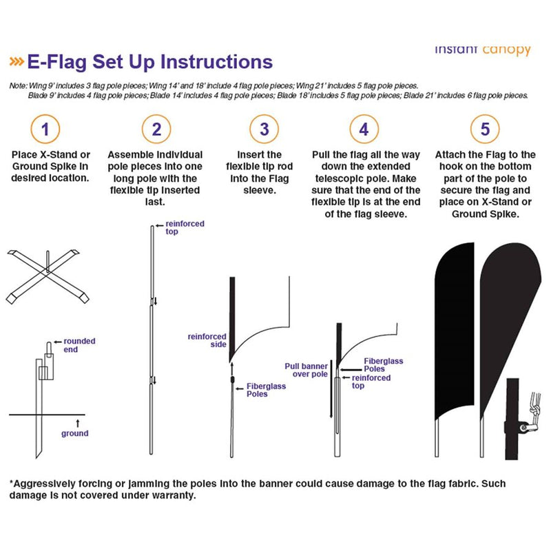 E-Blade Style Flag - Includes Custom Flag, Flag Pole, and Ground Spike - Impact Canopies USA