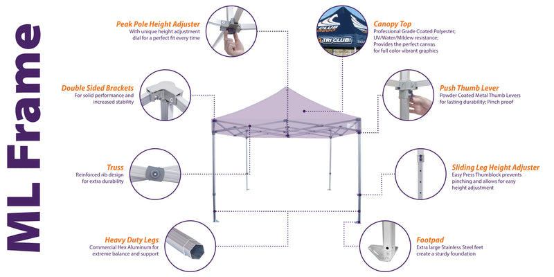10x10 Industrial Aluminum Pop up Canopy Tent Replacement Frame - ML