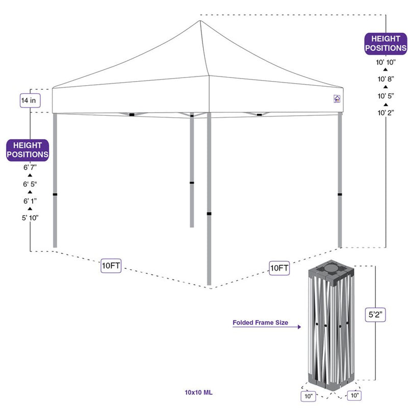 10x10 ML Pop up Canopy Tent Replacement Aluminum Frame - Impact Canopies USA