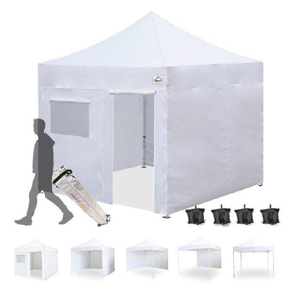 10x10 Pop up Canopy Tent Outdoor Market Canopy with Sidewalls / Weight Bags - Impact Canopies USA