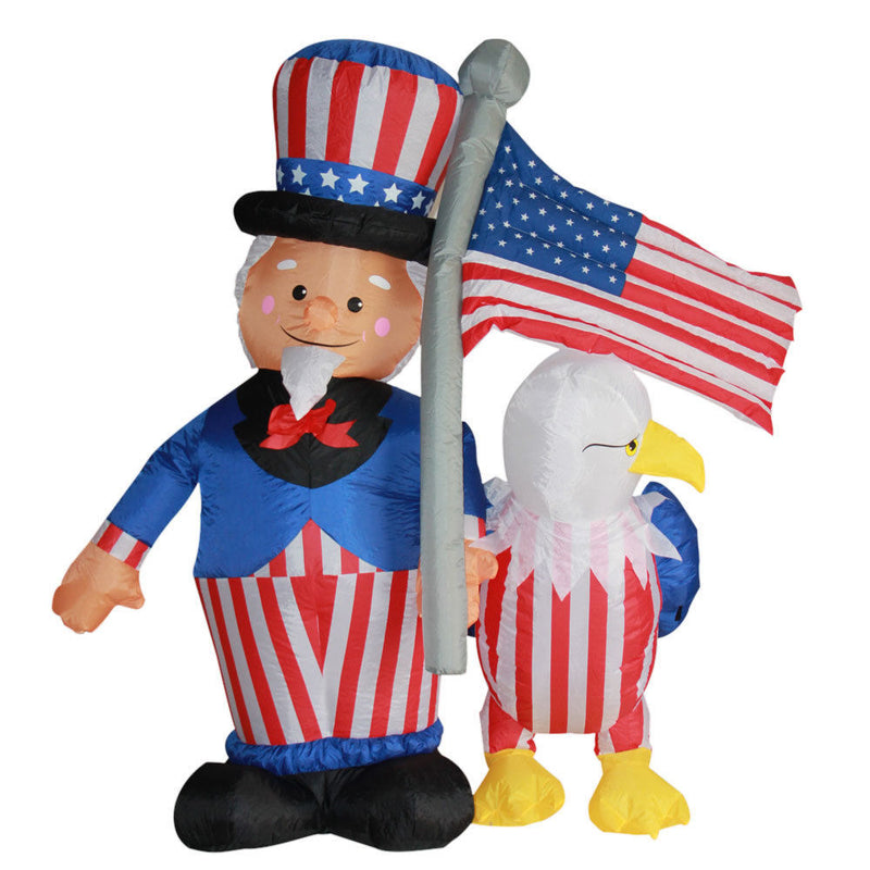 4th of July Airblown Inflatable Yard Decoration Uncle Sam with American Eagle - 6ft - Impact Canopies USA