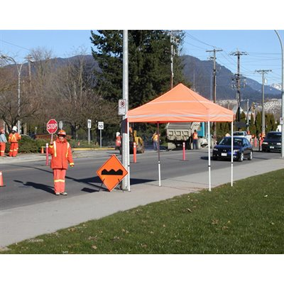 5x5 DS Caution Kit Pop Up Canopy Tent with Orange Top and Walls - Reflective Strips for High Visibilty - Impact Canopies USA