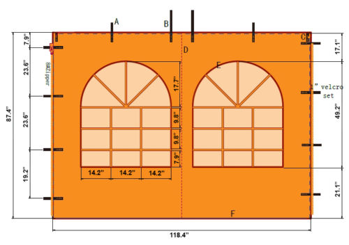 10' Pop Up Canopy Wall with Church Windows