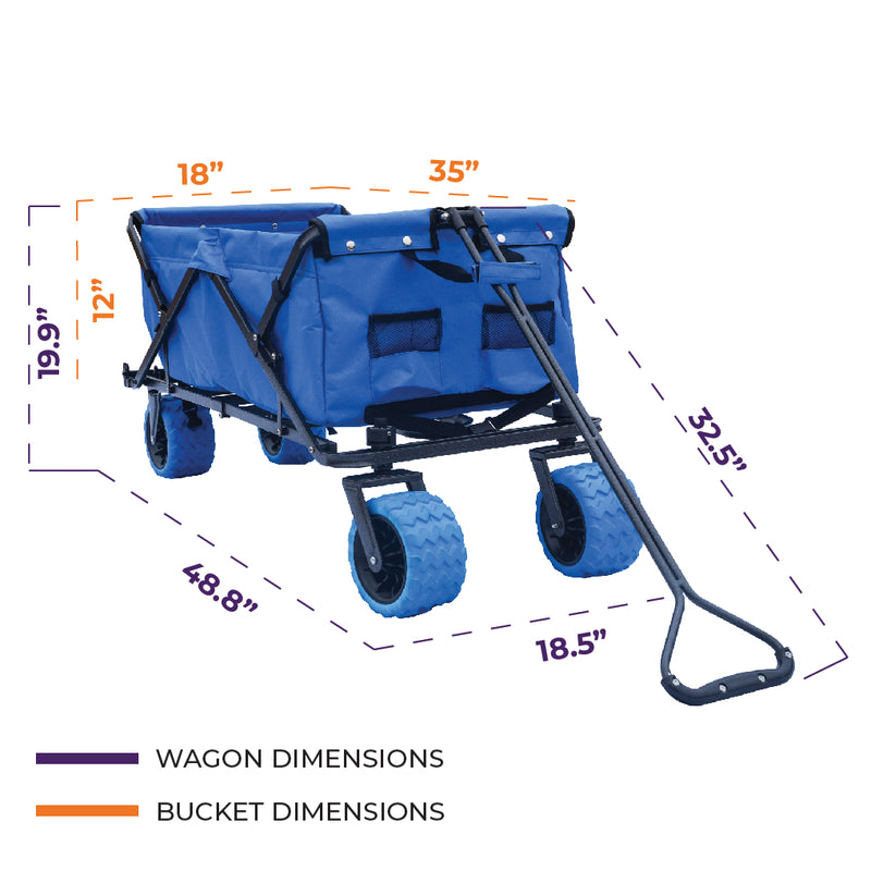 All-Terrain Folding Wagon Collapsible Beach Cart - Standard Size - Impact Canopies USA