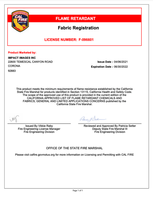 Impact Canopies Fire Resistant Certificate