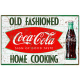 Coca-Cola Old Fashioned Home Cooking Fishtail Decal Distressed