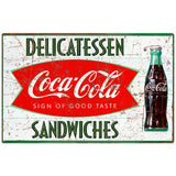 Coca-Cola Delicatessen Sandwiches Fishtail Decal Distressed