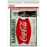 Coca-Cola Hamburgers Fishtail Decal Distressed