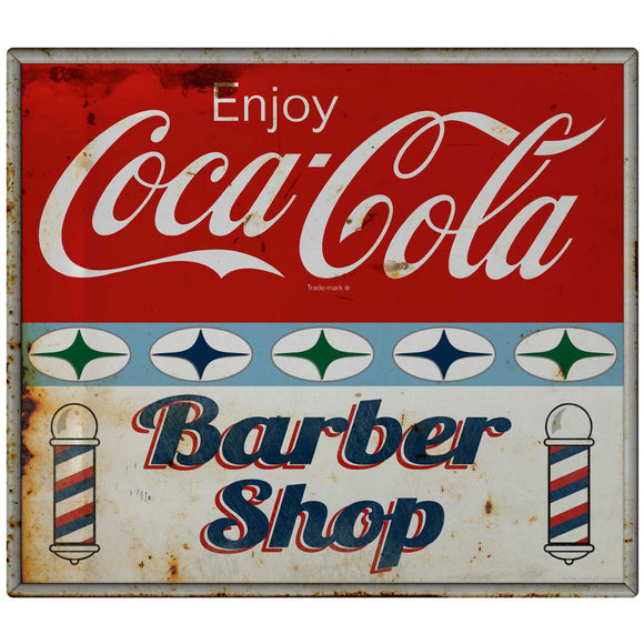 Coca-Cola Barber Shop Stars Decal Distressed