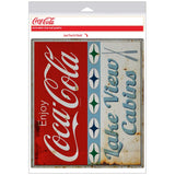 Coca-Cola Lake View Cabins Stars Decal Distressed
