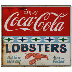 Coca-Cola Lobsters Stars Decal Distressed