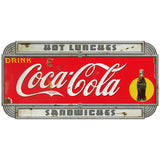 Coca-Cola Hot Lunches Deco Style Decal Distressed