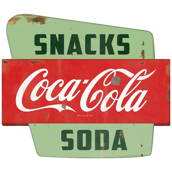 Coca-Cola Snacks Soda Googie Decal Distressed