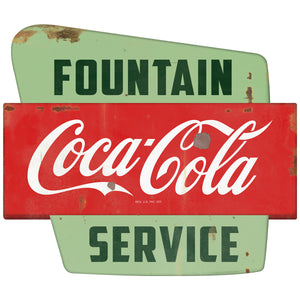 Coca-Cola Fountain Service Googie Decal Distressed