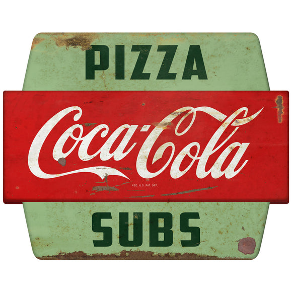 Coca-Cola Pizza Subs Googie Hexagon Decal Distressed