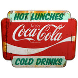 Coca-Cola Hot Lunches Cold Drinks Marquee Decal Distressed